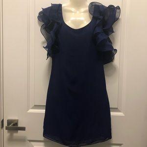 ASOS Purple Blue Ruffle Sleeves Mini Dress 4P